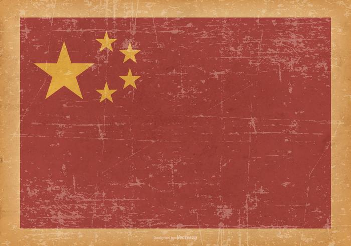 China Flag on Old Grunge Background