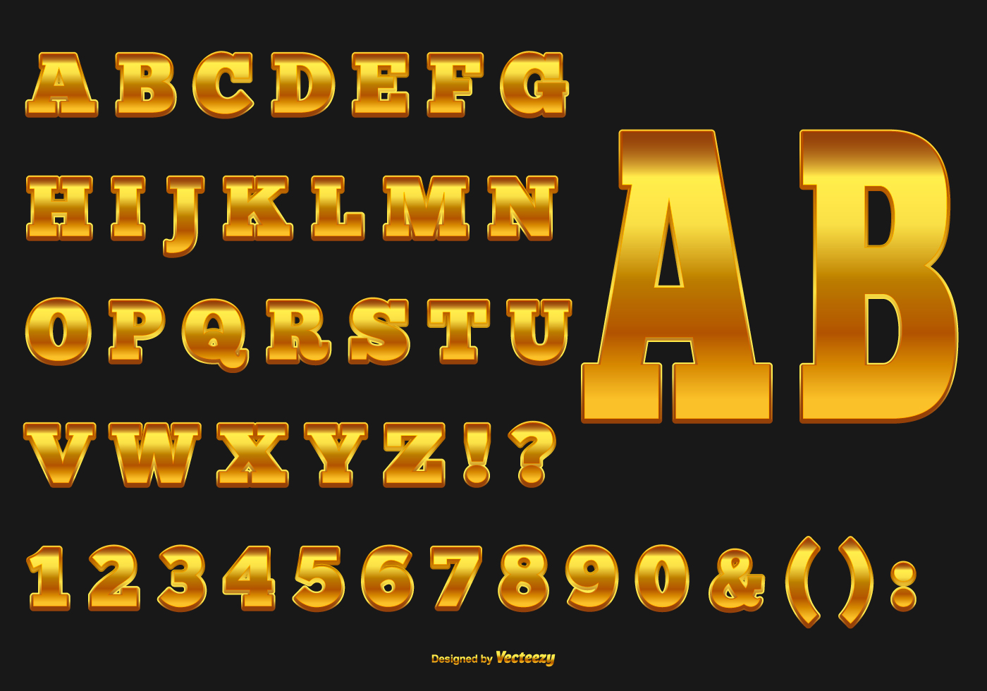 elegant gold alphabet collection