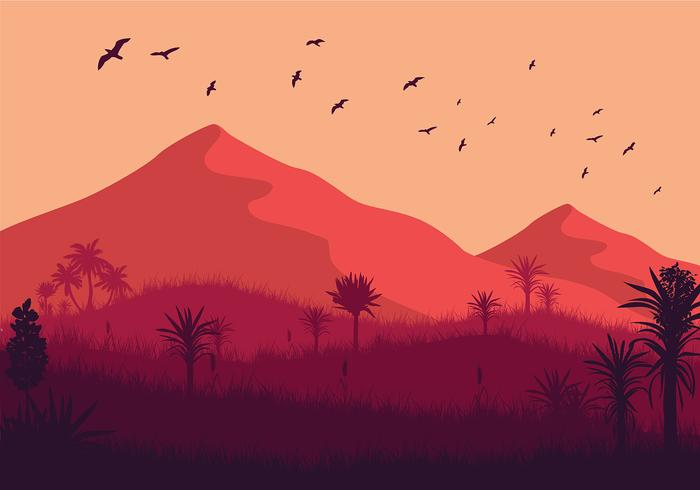 Free Wild Yucca Landscape Vector