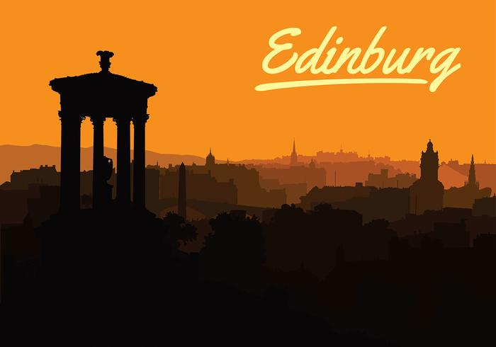 Free Sunset Over Edinburgh Vector