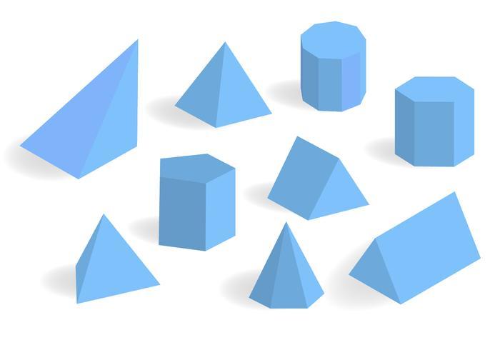 Blue Prisma and Prism Vector Set
