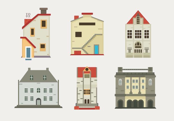 Edinburg Old Building Flat Vector Illustration