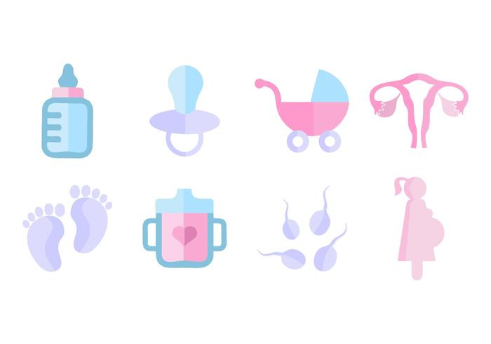 Free Maternity Icons Flat Style Vector