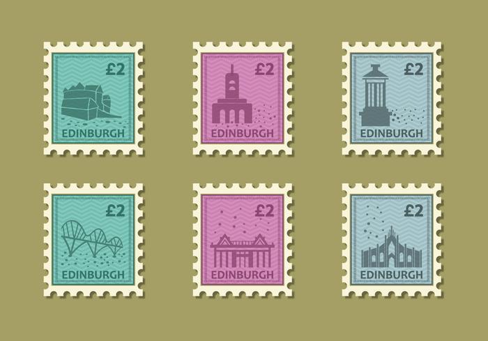 Edinburg Building Vintage Stamp Vector Illustration