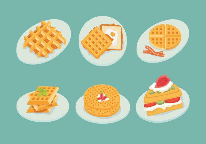 Waffles Plate Slice Isolate Shape Vector Stock