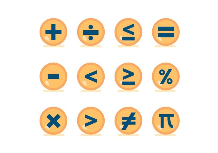 Math Symbol Vector Buttons