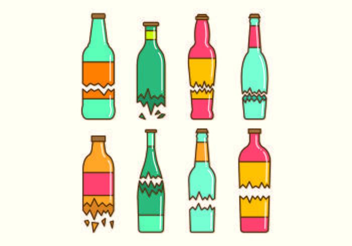 Set Of Broken Bottle Vectors