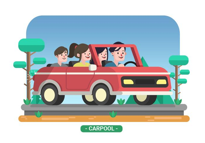 Family Carpool Vector Illustration