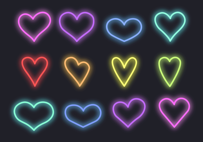 Gratis-Neon-Herzen Vektor