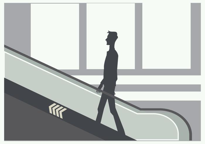Silhouette of A Young Man on The Escalator Vector