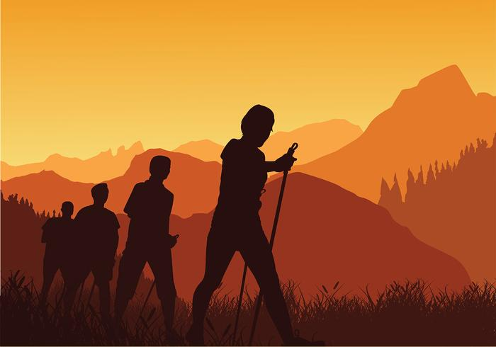 Nordic Walking Sunset Silhouette Vector