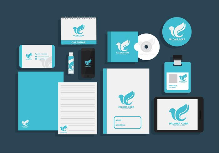 paloma corp corporate identity free vector - download free vector, Powerpoint templates