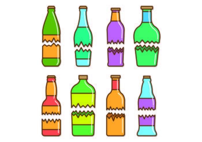 Conjunto de vectores botella rota