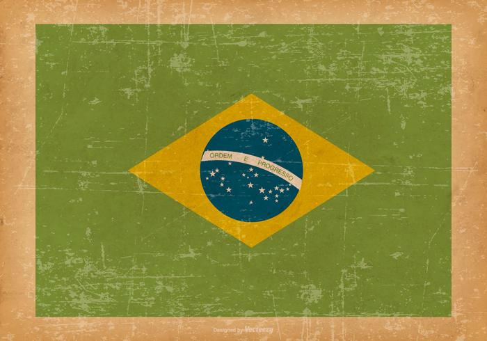 Flag of Brazil on Old Grunge Background vector