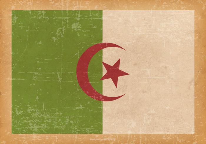 Flag of Algeria on Old Grunge Background