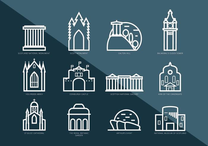 Vector Pictograms of Interesting Places in Edinburgh