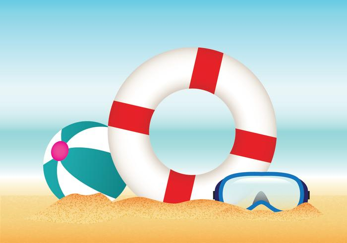 Summer Beach with Lifesaver Vector