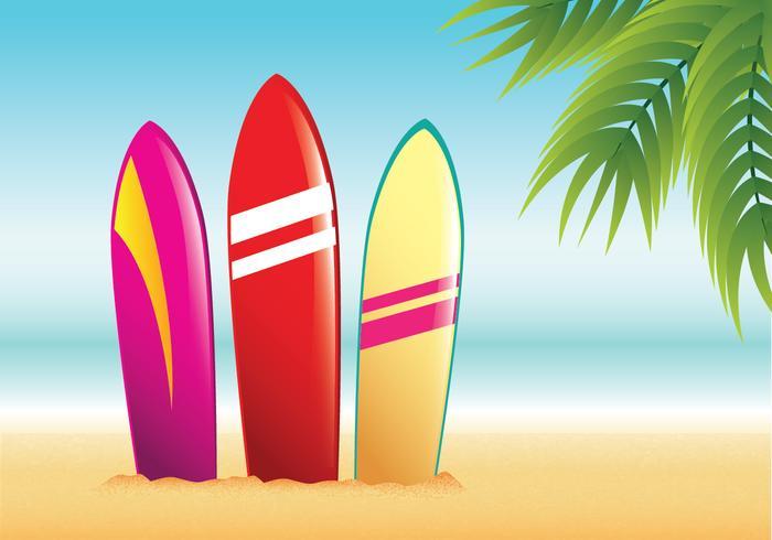 Vectorial tabla de surf de playa del verano