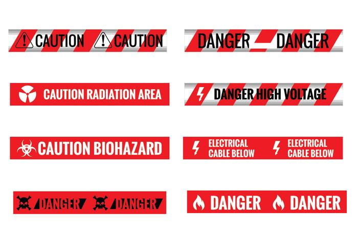Set of Different Seamless Red and White Caution Tapes