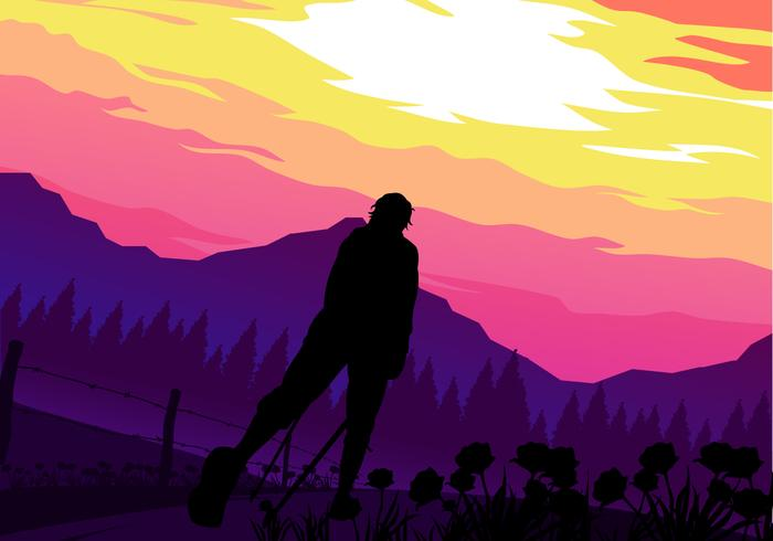 Sunset Nordic Walking Free Vector