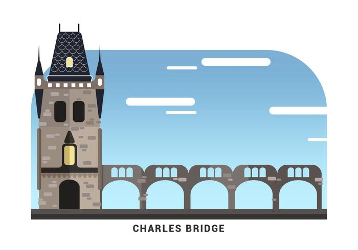 Prague Landmark The Charles Bridge Vector Illustration