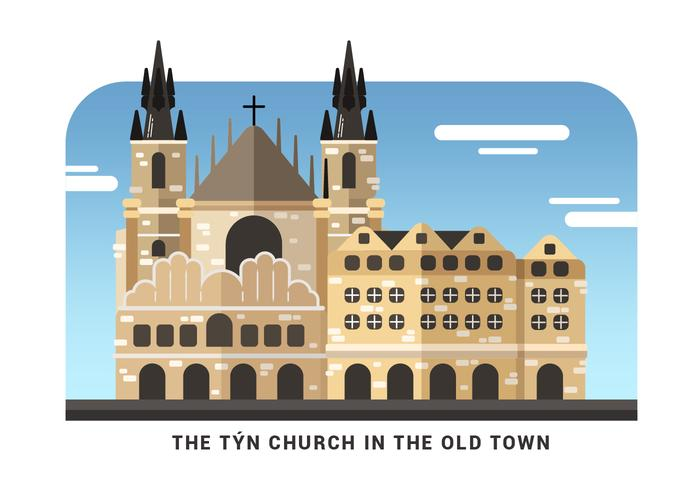 Prague Landmark Tyn Church Vector Illustration