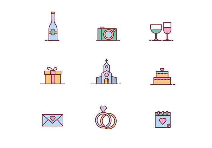 Vettori di icone di bel matrimonio