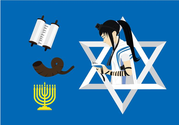 Jewish Worshipper with Tefillin Free Vector