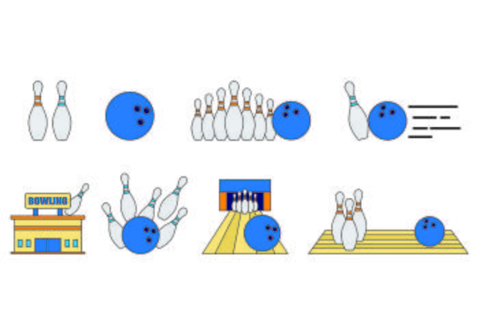 Set Of Bowling Icons