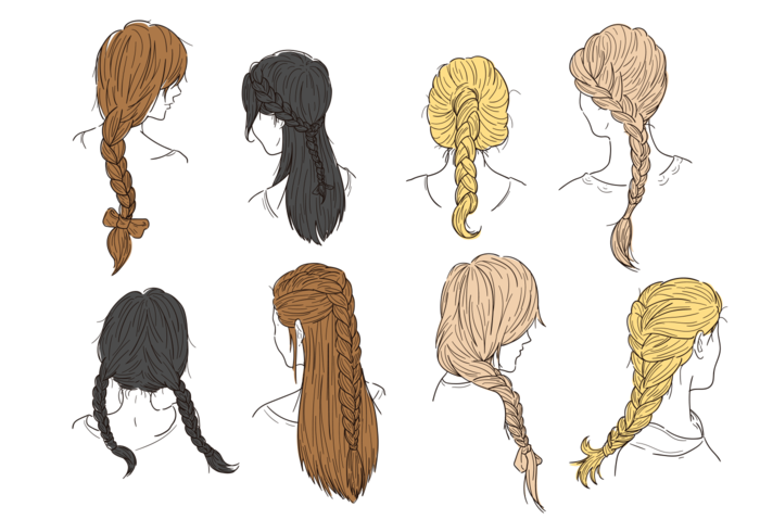 Hair Plaits and Braids Vectors