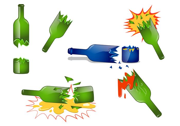 Realistic Broken Bottle Vector