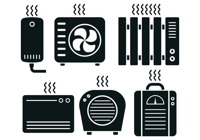Heater Icon Vector Set