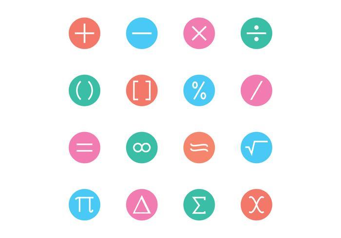 Vettori dell'icona di simbolo matematico