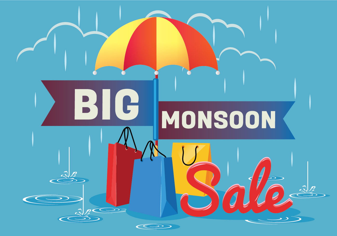 sale poster for monsoon season with rain drops with shopping bag and umbrella download free. Black Bedroom Furniture Sets. Home Design Ideas