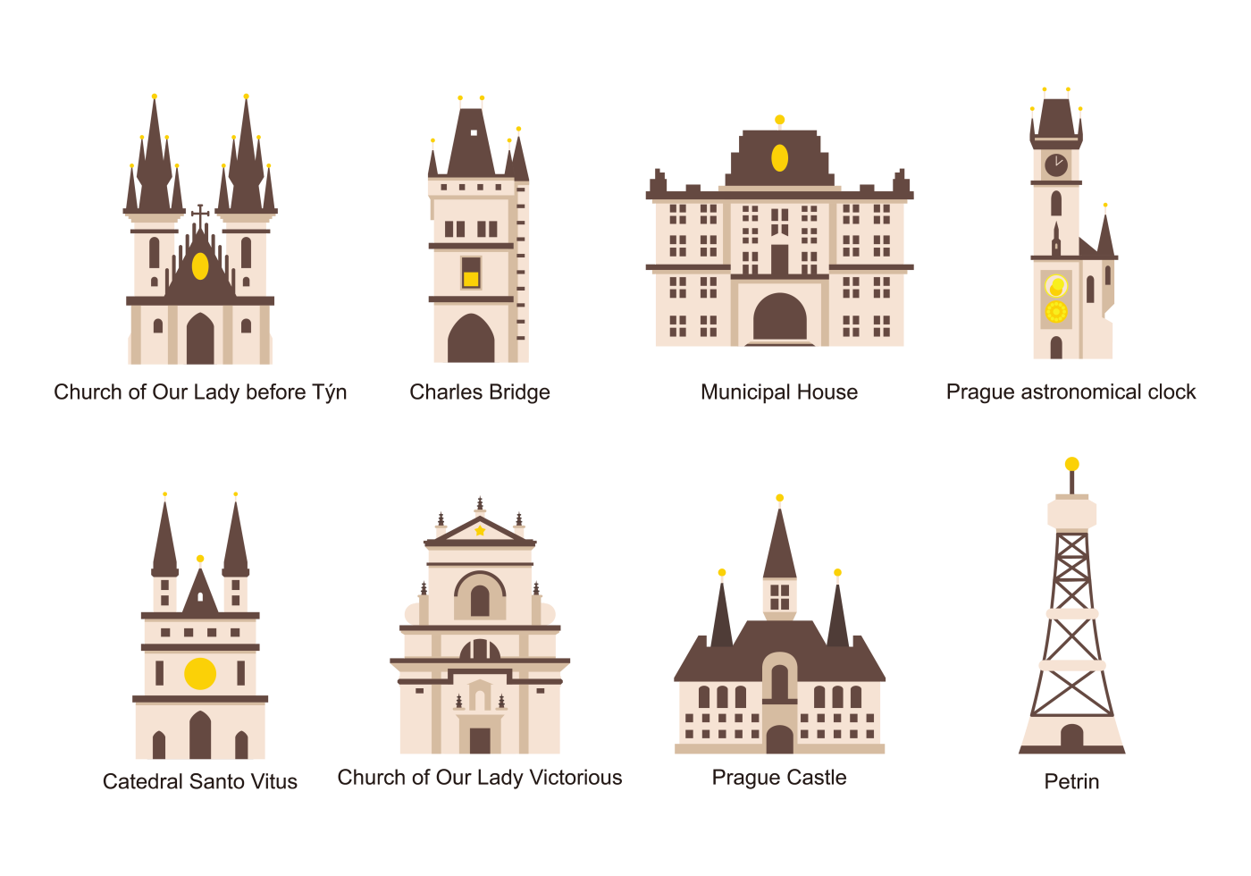 Prague icons vector download free vector art stock for Prague design