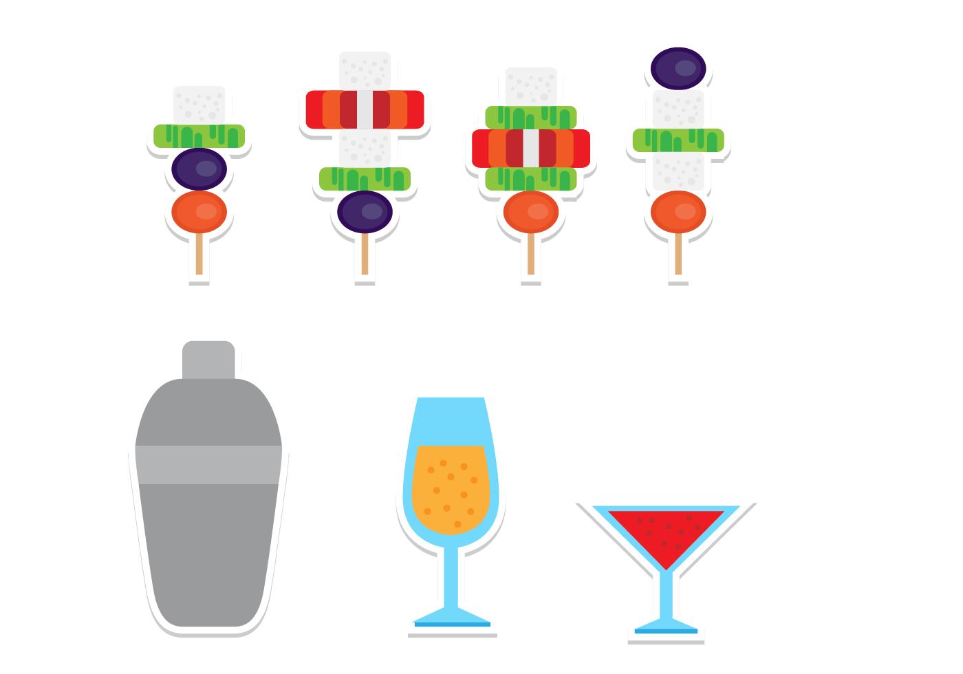 Planas canap s e bebidas jogo do cone download vetores for Canape vector download