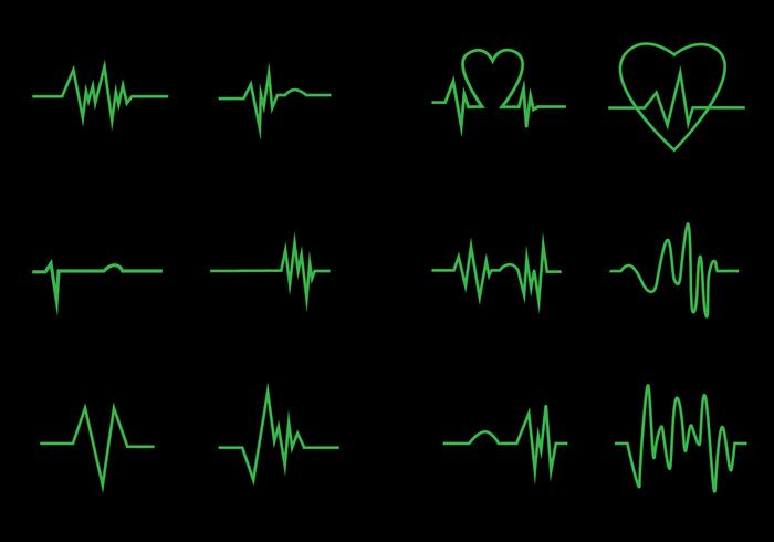 Neon Heart Pulse Icon Vectors