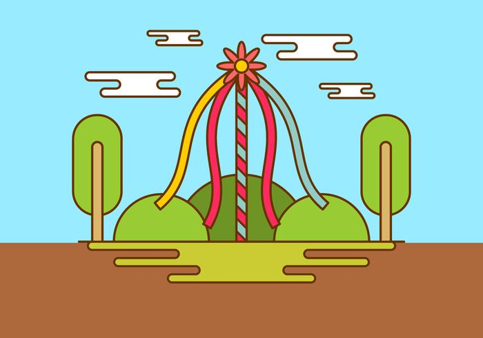 Maypole In Spring Time Vector Background