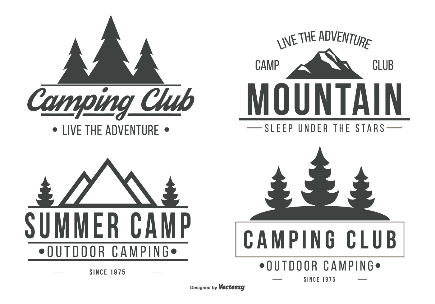 set of mountain elements outdoor icon hand drawn stock