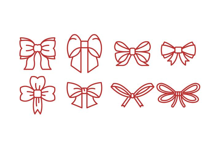 Red Outline Ribbon Icon Vector