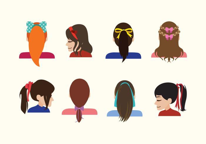 Girls with Hair Ribbon Vectors