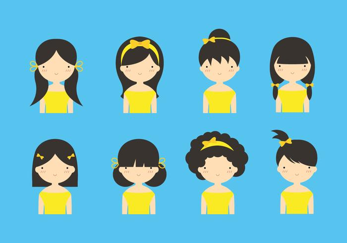 Cute Girls with Yellow Hair Ribbon Vectors