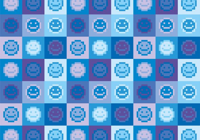 Smiley emoji pixel vector pattern