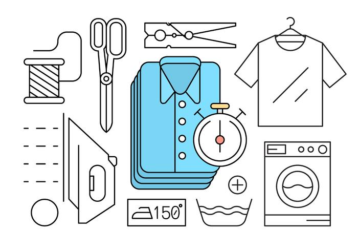 Free Linear Style Laundry Icons