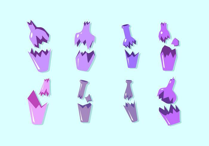 Purple Broken Bottle Free Vector