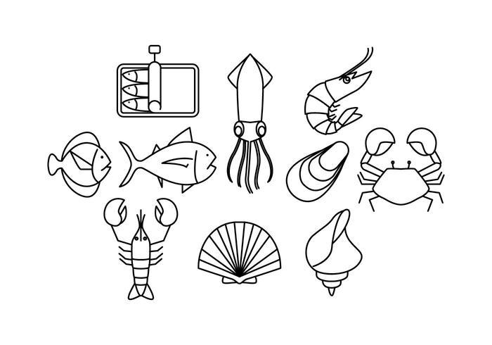 Mariscos de Iconos línea vector