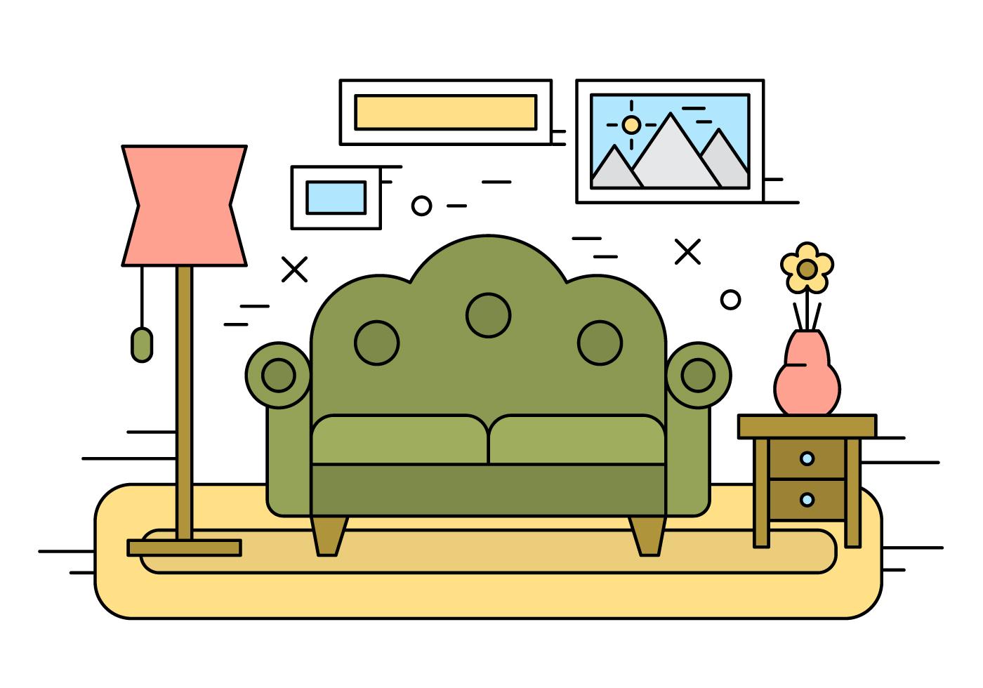 Living Room Illustration Download Free Vector Art Stock