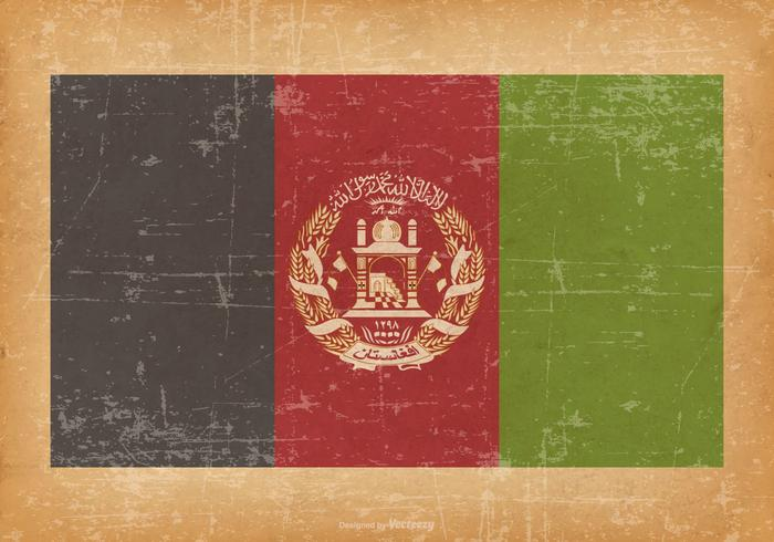 Afghanistan Flag On Old Grunge Background