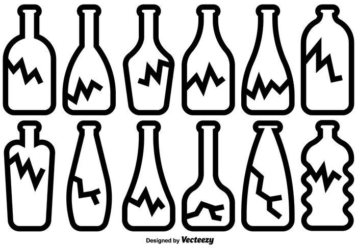 Broken Bottle Icons Vector Set