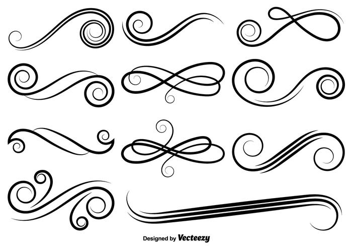 Vector Set Of Swirls